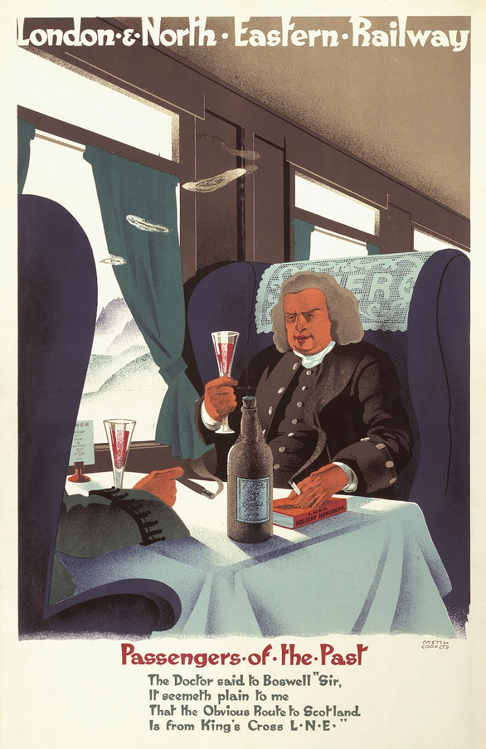 This poster was produced in 1929. It shows Dr Samuel Johnson in an LNER restaurant carriage raising a glass of wine and addressing James Boswell.  What passenger from the past would you like to share a train journey with?