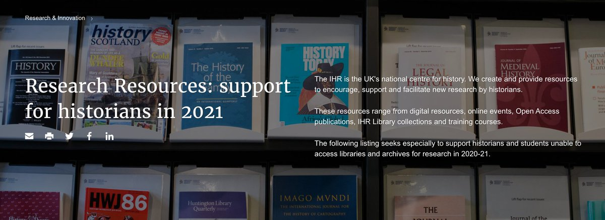 The IHR offers many free resources to help you research and teach #History remotely at this time. From primary source materials and study guides to #openaccess publications, online events & podcasts history.ac.uk/research/resea… #twitterstorians #historyteacher #ECR