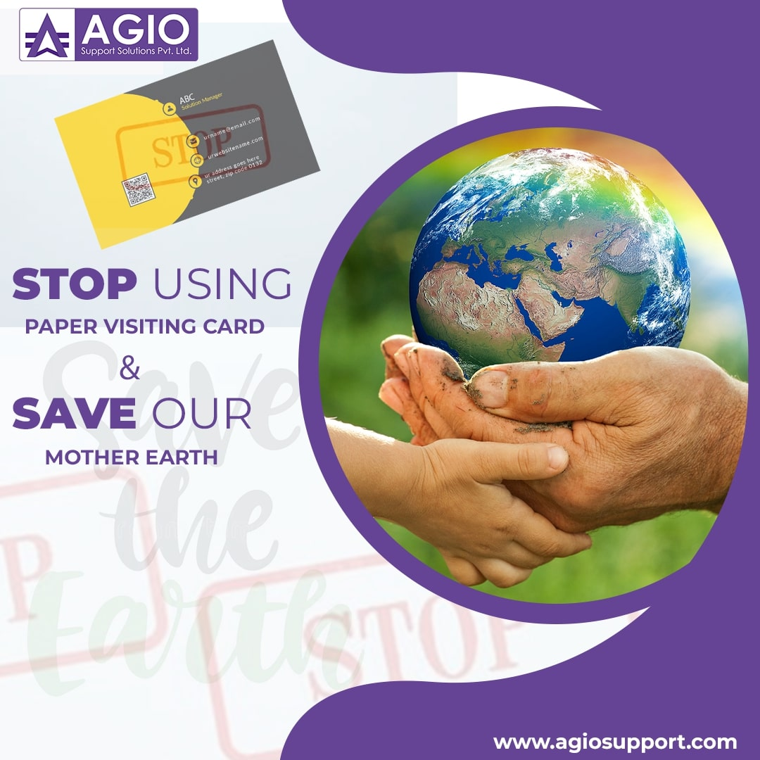 Stop using Paper Visiting Card and Save our Mother Earth🌎  Contact Agio Support.   #ecard #ecards #ebusinesscard #ebusiness #ebusinesscards #digitalcards #designedecards #ecardsdesigners #ecardsdesign #ecardsmaker #digitalcard #digitalbusinesscard #agio