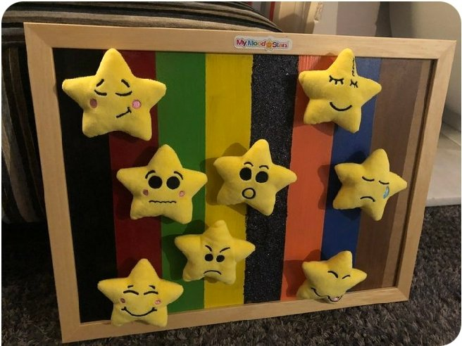 So...you can't chose what colour to paint your My Mood Stars board? Paint it multi-coloured like this creative customer did!  #primaryschool #emotionalsupport #kidsmentalhealth #MotherOfMoodStars
