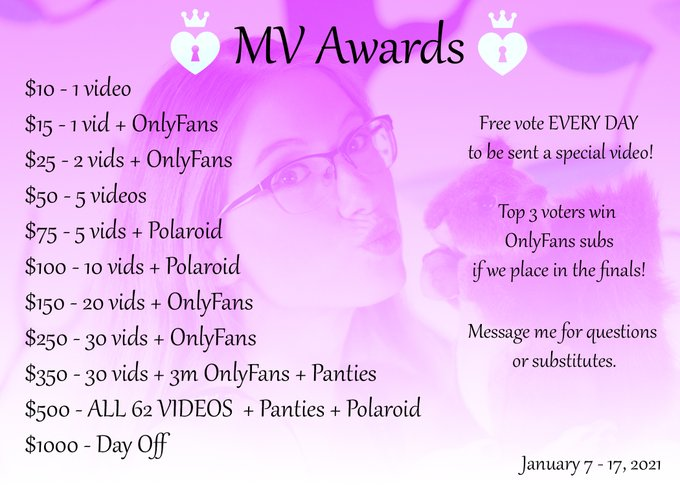 Please vote for me in the ManyVids Awards!   Queen 👑 https://t.co/NgLvQnfgWN  Rising Star 🌟 https://t