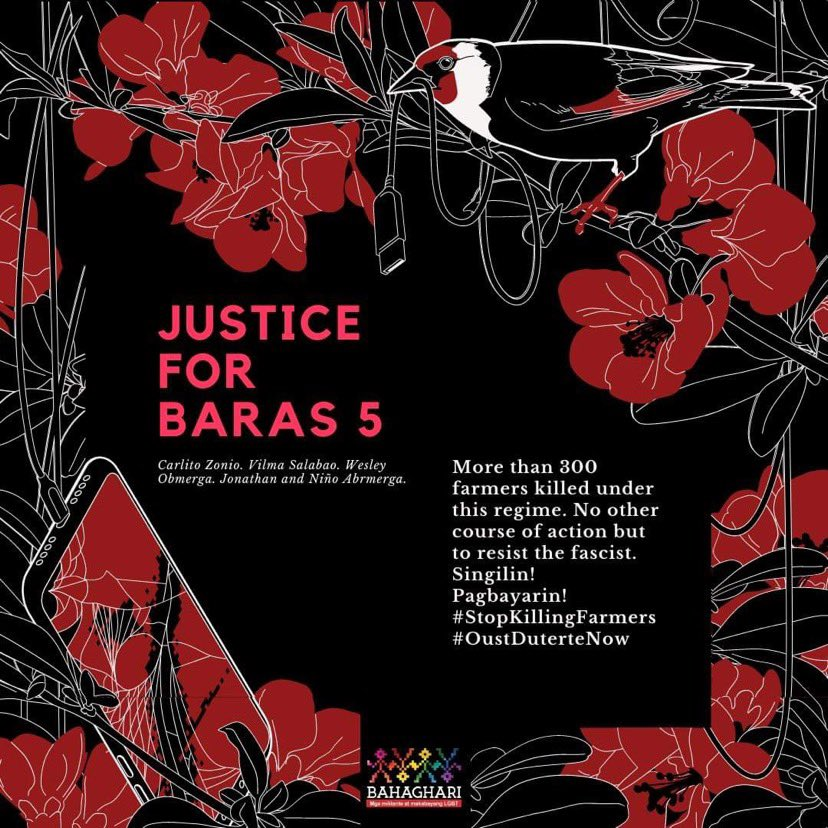 In December, the AFP slaughtered Carlito Zonio, Vilma Salabao, Wesley Obmerga, and Jonathan and Niño Abrmerga. As of writing, Vilma's body is still missing. The 5 were mango farmworkers, who Eduardo Año tagged as members of the NPA to justify the massacre. #JusticeForBaras5