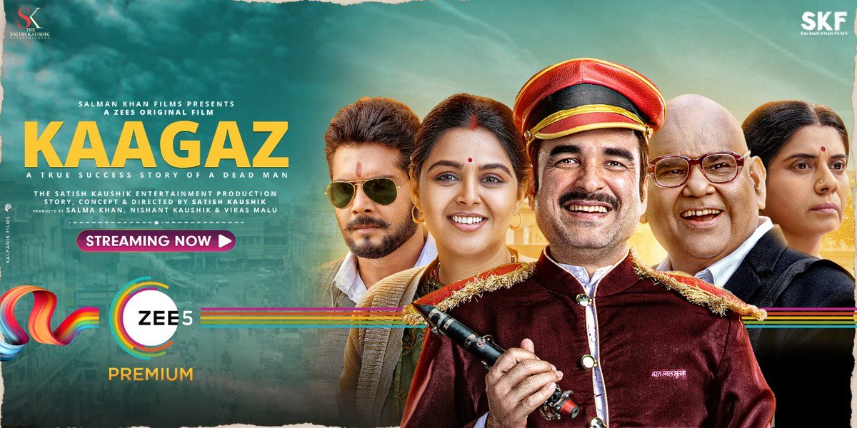 #Kaagaz  Undoubtedly the BEST Film of 2021  MASTERPIECE ⭐⭐⭐1/2   Thank you @BeingSalmanKhan For producing such a Brilliant Film.  And  @TripathiiPankaj deserves all the awards .  What a FANTABULOUS direction by @satishkaushik2 hope he continues to direct more from now.