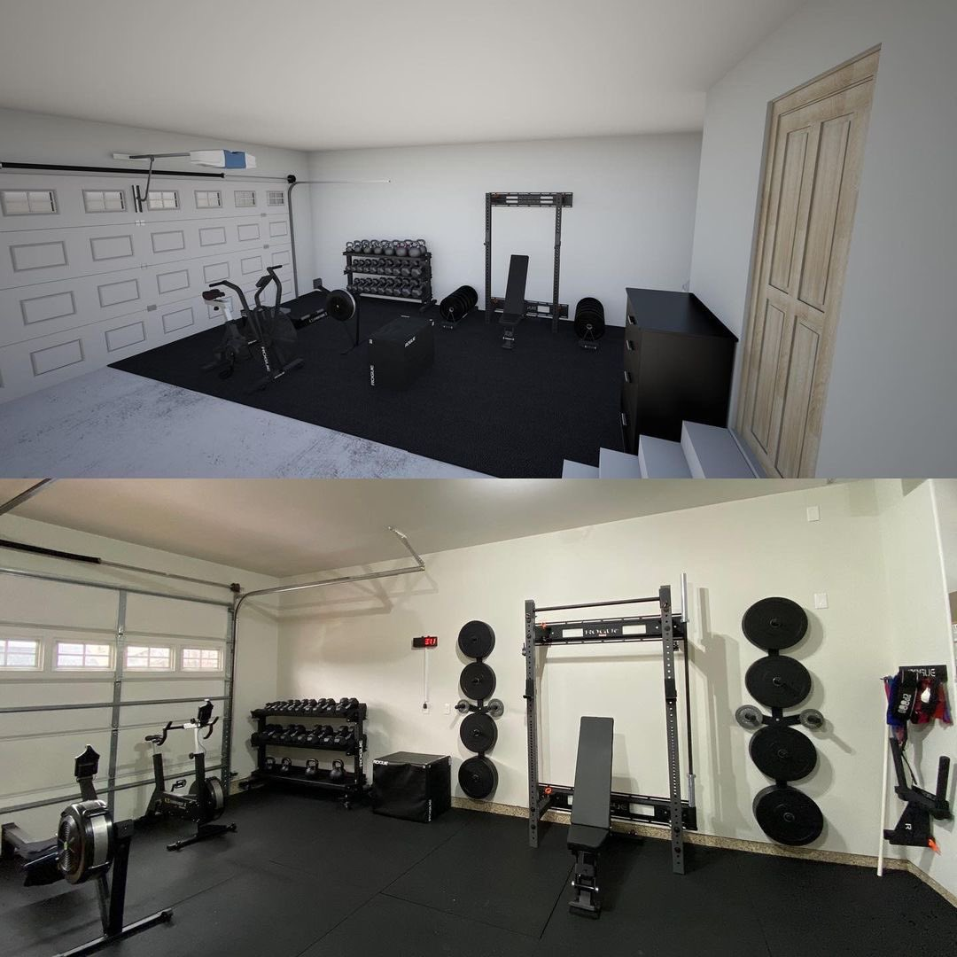 """""""The top photo was one I designed several months back, and the bottom was taken today. It's been a fun project, and one of the bright spots of 2020.""""  Design your gym with ZEUS Gym Builder:   #repost Tom Boone"""