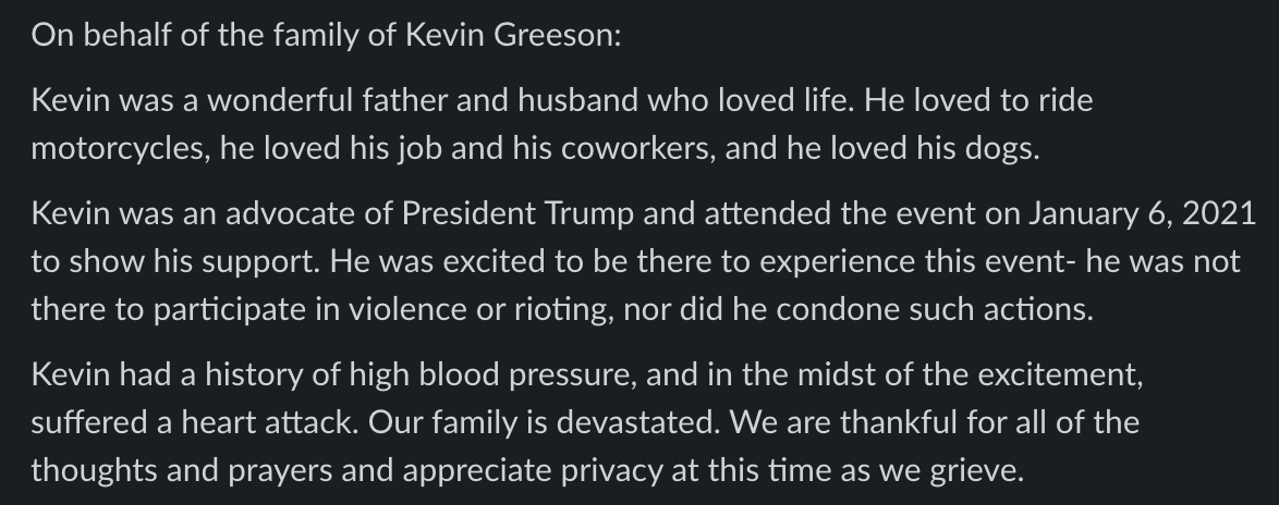 Greeson's family has released the following statement, along with this photo: