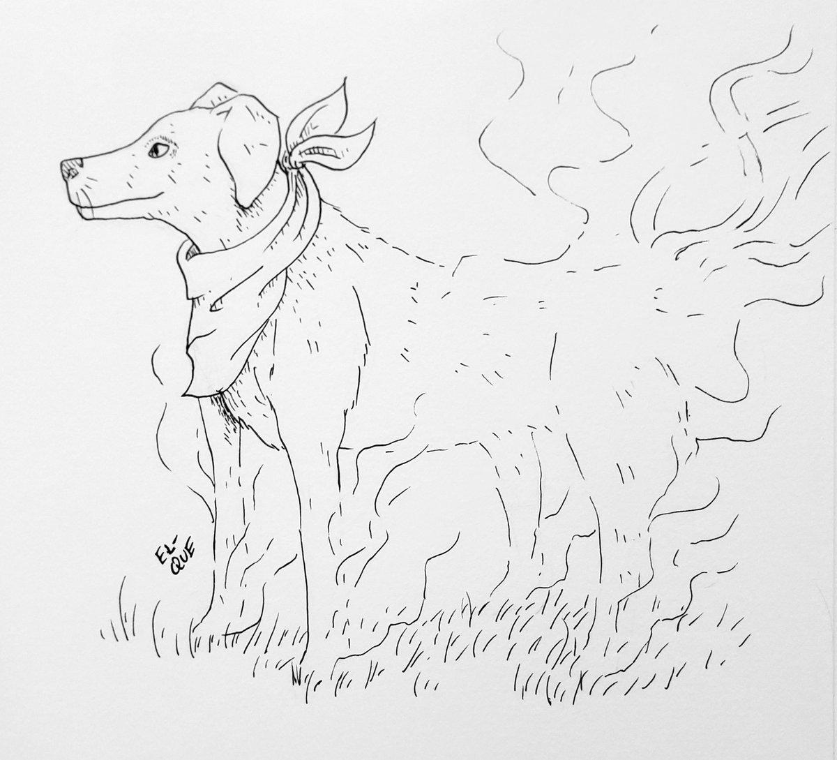 My boy passed on late 2020, may his sprit roam the wilds 💚 To my boy Oscar - #el_que #illustration #art #artwork #drawlloween #day21 #challenge #artchallenge #ink #inkwork #linework #dog #boy #myboy #goodestboy #ridgeback #departed #inmemoryof #spirit #animalspirit #blackdog
