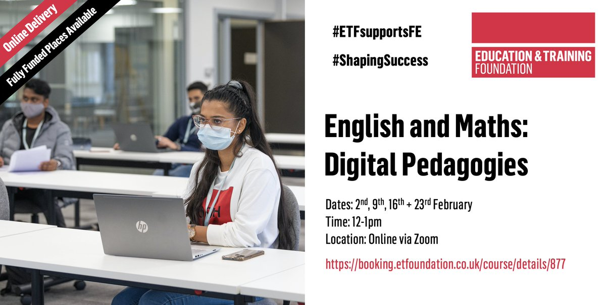 What are digital pedagogies?  and how do you consider them in English and maths classes (for classroom, remotely or blended)?  Explore these Qs + more with @Realtimeedu on Tuesday lunchtimes. Starting Feb, book now ⬇️    #FE #ShapingSuccess #EdTech
