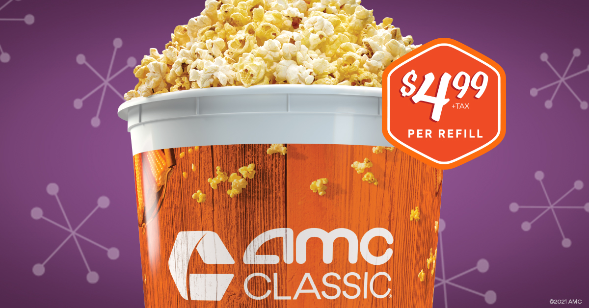 Savor a year with tasty savings! The 2020-2021 popcorn bucket is now available for just $20.99+tax at your AMC CLASSIC theatre. Refill your bucket all year long for just $4.99 each refill. Order Now: