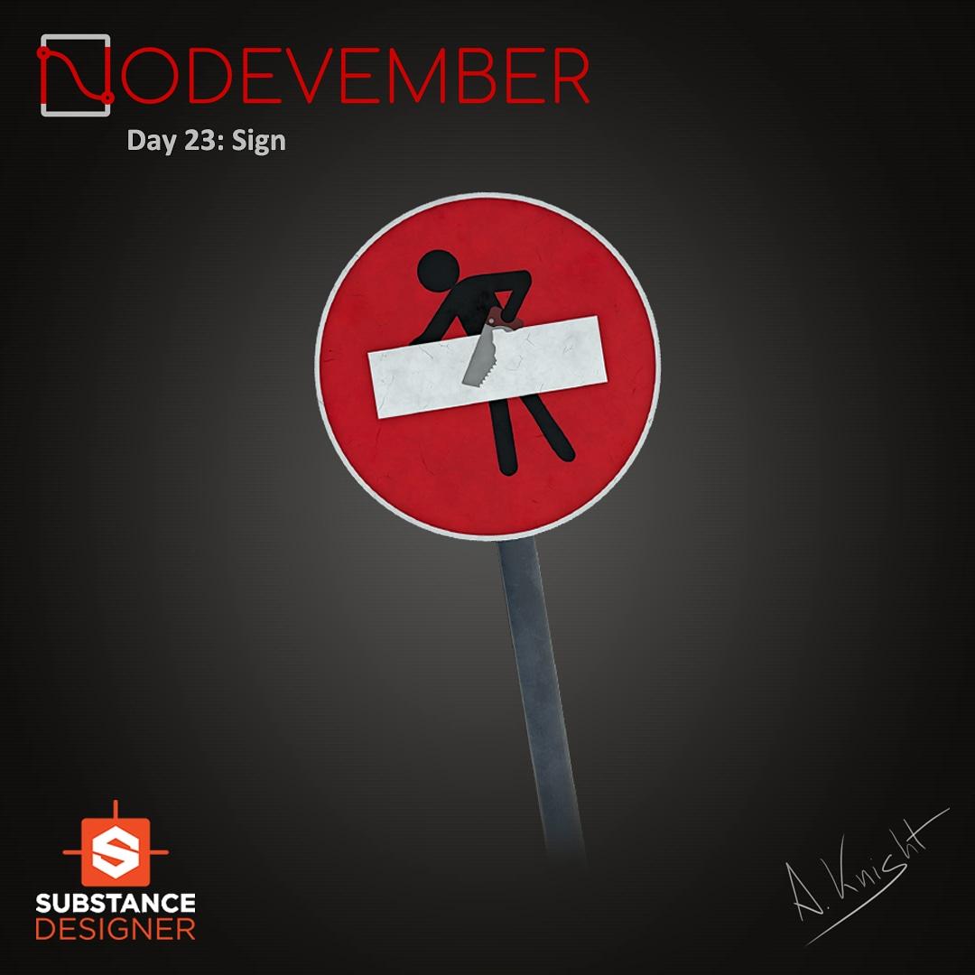 #nodevember #day23 -> #sign For all those #original and anonymous #artists  #city #road #nodevember2020 #november #madewithsubstance #substancedesigner #3d #3dart #3dmaterials #procedural #proceduralart #art #challenge  #digitalart #digital3d #videogames #nodes #trafficsign #car