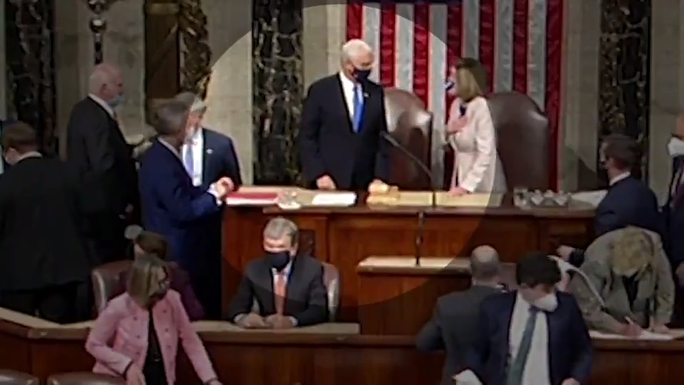 EARLIER: Joe Biden is certified the next President of the United States. Vice President Mike Pence and Speaker Pelosi elbow bump.