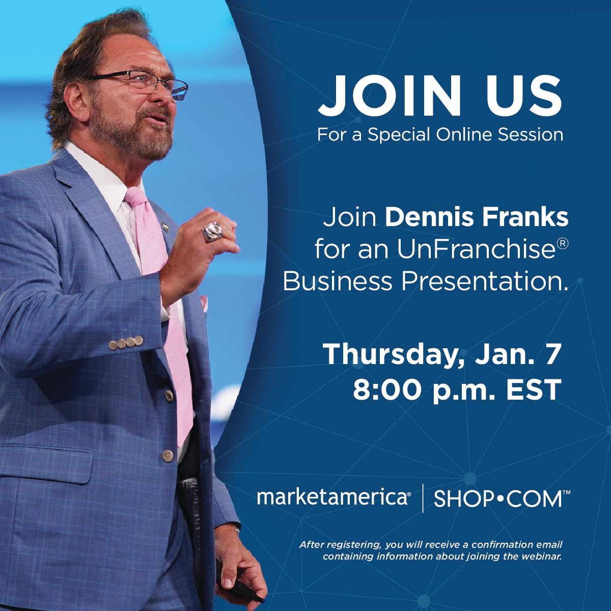 We've got two incredible sessions planned for this evening! Grab your prospects and join Executive Vice President, @dennisjfranks.  UnFranchise Business Presentation  Register:    Getting Started Right  Register: