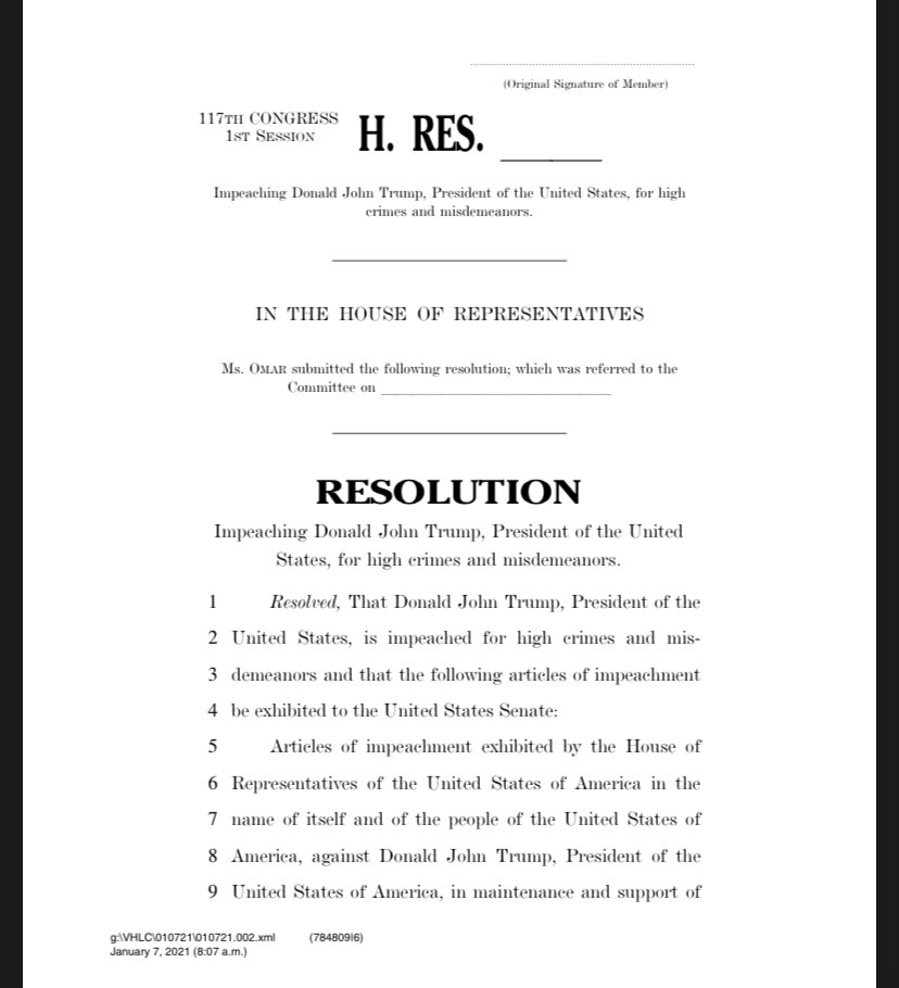 Articles of Impeachment for introduction, so proud of everyone co-leading this effort with us.   We need to move quickly to remove this President from office.