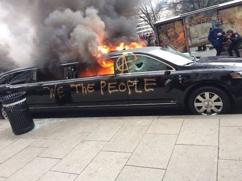 OMG! New images of Trump supporters firebombing a limo in DC!  Just kidding. This is liberals at Trump's inauguration in 2017...and the media cheered them on