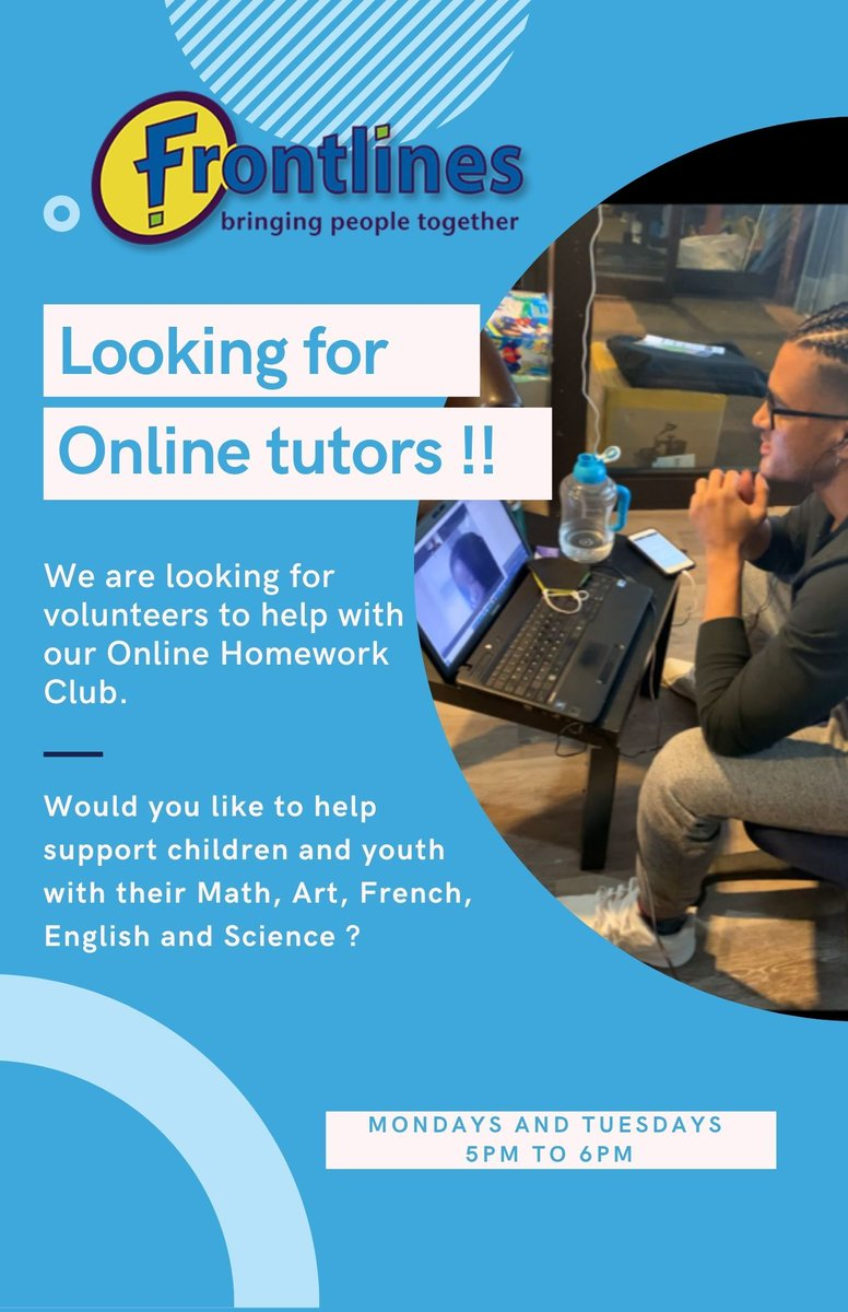 Frontlines is looking for new volunteers in our Online Homework Club. If you or anyone you know would like to support children and youth with their homework visit https://t.co/YpcYUS90Mh #torontokids #torontotutors #OntarioEducatorsUnited #torontoschool #tdsb #OntEd