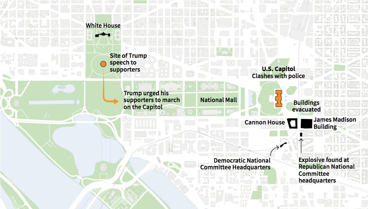 4/ 🕐 Several federal buildings around the Capitol were evacuated after a pipe bomb was found and detonated at the Republican National Committee headquarters and another was recovered from the Democratic National Committee headquarters. https://t.co/Tofb4p2gBD