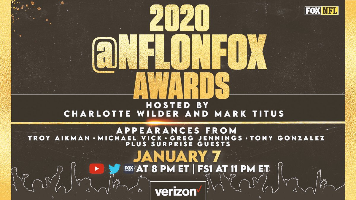 Awards season kicks off tonight with the first ever @NFLonFOX Awards presented by Verizon 🏆  Hosts @clubtrillion and @TheWilderThings are joined by special guest presenters to hand out honors for this season's top players, moments and more.  🔗: https://t.co/dRl0NLmip3 https://t.co/LwQ6pOJm6R