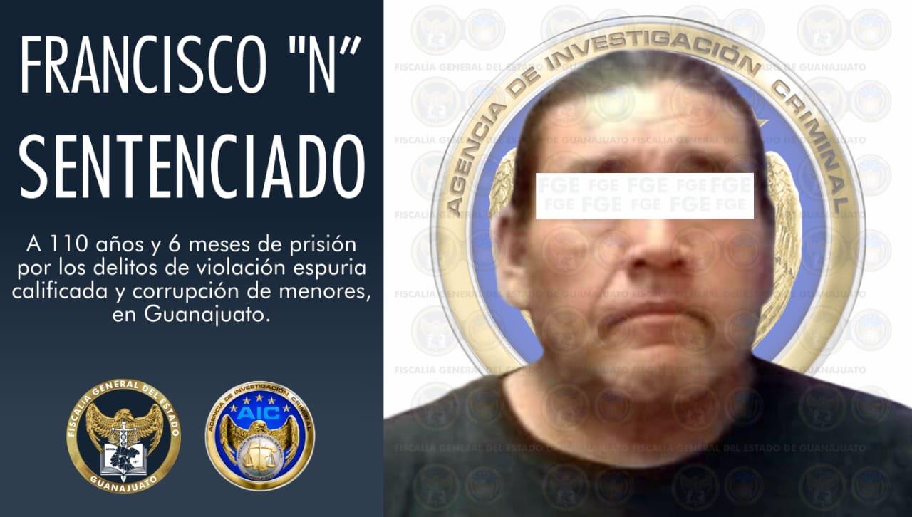Policiaca:Sentenciado a 110 años de prisión por violar cinco menores de edad