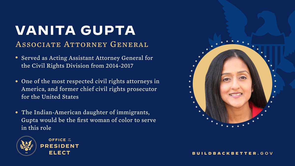 Vanita Gupta is a fierce advocate for civil rights, justice, and dignity for all people.    With her leadership, the next Department of Justice will represent all people of the United States.   The next DOJ will not serve as the president's personal law firm.