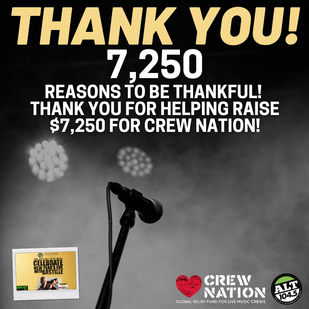 Thanks for ringing in 2021 with @bastilledan and ALT 104.5 while supporting #CrewNation!  #Gratitude