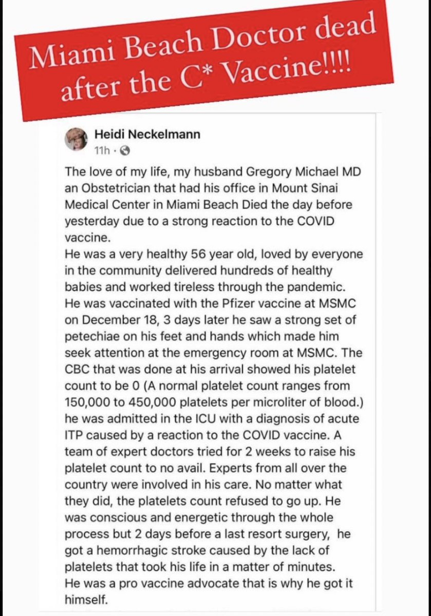 Miami Beach Doctor DEAD after #Covid19 #Vaccine  Americans must unite in the fight for medical freedom. No matter your beliefs on vaccines, it should be YOUR choice & YOUR CHOICE ONLY what gets injected in YOUR BODY.   #Miami #LearnTheRisk #MedicalFreedom #BodyAutonomy