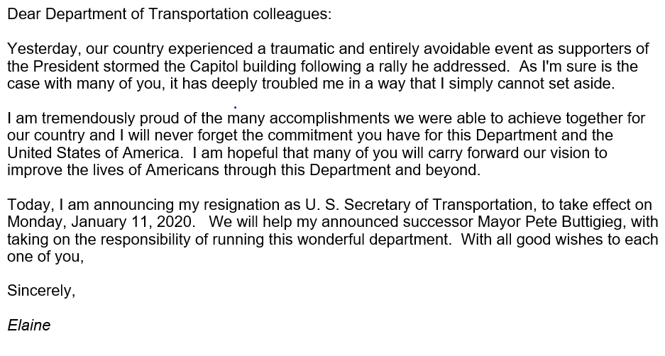 It has been the honor of a lifetime to serve the U.S. Department of Transportation.