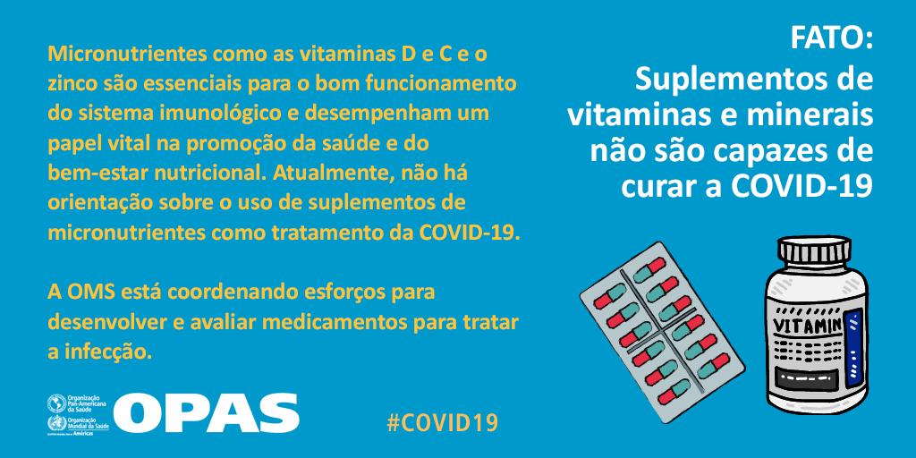 🧐 Cuidado com as notícias falsas!  ➡️ Suplementos de vitaminas e minerais ❌ NÃO curam a #COVID19.  Saiba mais: