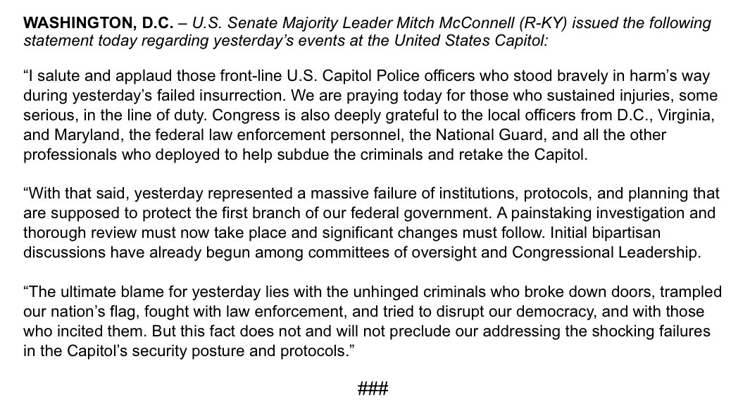The ultimate blame for yesterday's events lies with the unhinged criminals who tried to disrupt our government and with those who incited them. But this fact does not preclude our addressing the shocking failures in the Capitol's security posture and protocols. My full statement: