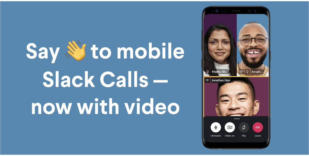 Yesterday someone's laptop went into one hundred years of solitude to update to the latest software right before a meeting 😔 , but it worked out, because Slack Calls now supports video on mobile, so you can video call from wherever you are. 🤳