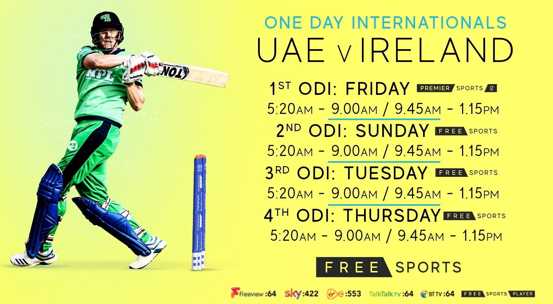 IRE vs UAE 1st ODI live streaming