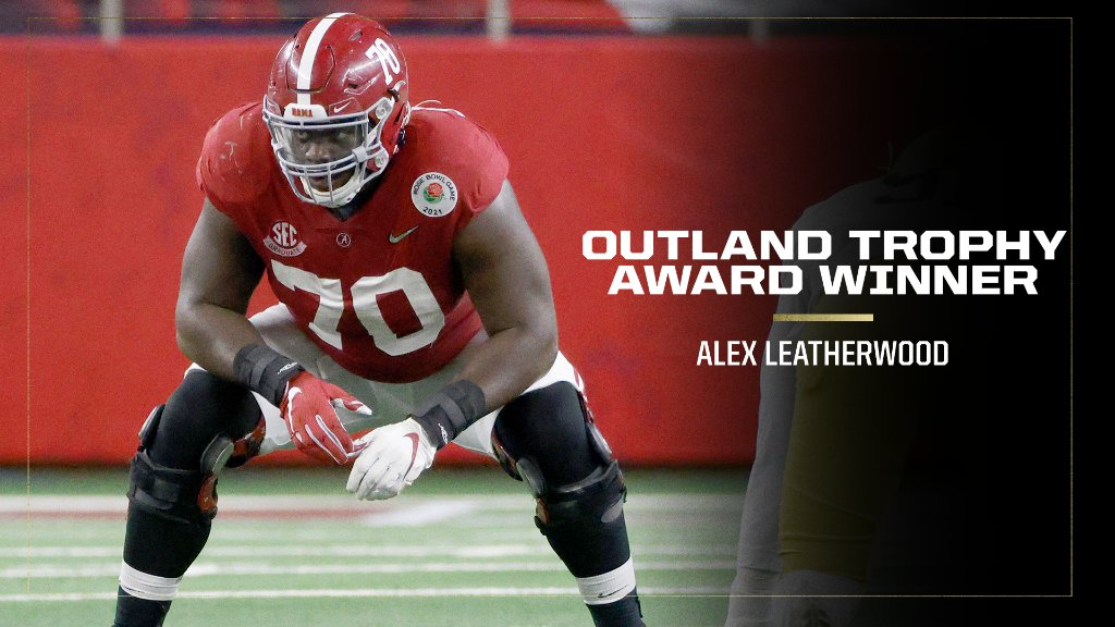 Your 2020 Outland Trophy winner:  @AlabamaFTBL's Alex Leatherwood