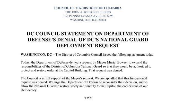 Trump did NOT immediately send out the National Guard.  No initial presence. Clashes began ~1:20pm. The breach happened (roughly) around 2/2:30. Around 3:38pm, DC council tweeted their request for National Guard was DENIED.  When NG was approved, Trump wasn't cited in decision.
