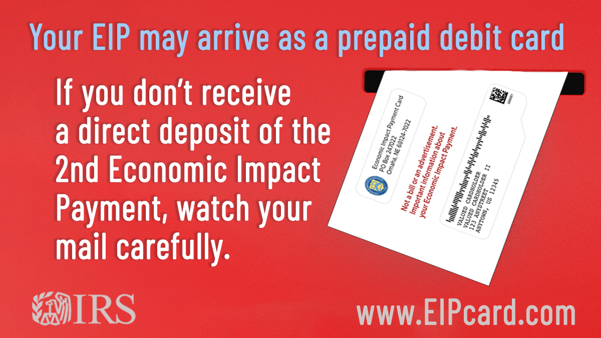 Starting this week, approximately 8 million people will receive their 2nd Economic Impact Payments by prepaid debit card. #IRS urges you to check your mail:  #COVIDreliefIRS