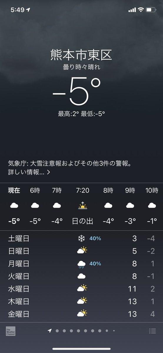 全国の人は知るまい。 私の住んでる熊本が、いまマイナス5度だということを…。 新潟がマイナス2度。仙台がマイナス4度。 熊本と仙台が同じ気温なのだ。 九州は暖かいイメージあると思いますが、実際は寒いのです。