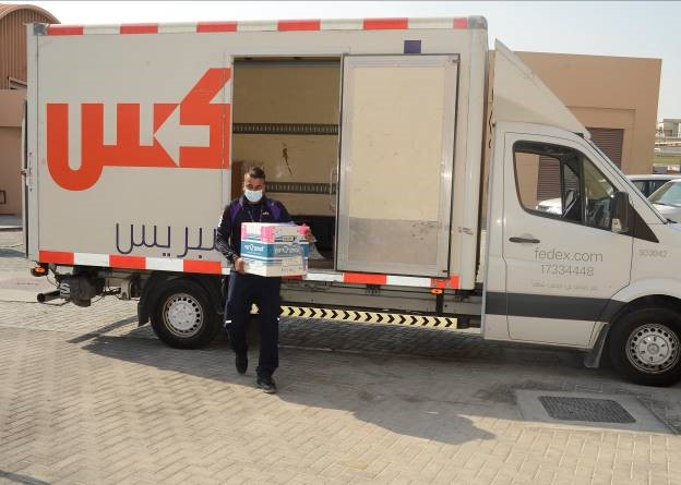 #DLADistribution Bahrain: @FedEx truck delivering 1st shipment of COVID-19 Moderna vaccine to Naval Support Activity Bahrain Dec. 30, 2020, after clearing customs. It was ground delivered to #NSABahrain and placed in cold-storage for inoculations that began the same day.