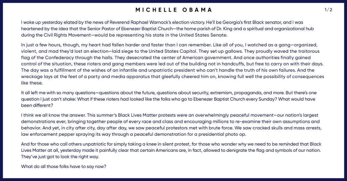 """JUST IN: Former first lady Michelle Obama calls on tech companies to permanently ban President Trump from their platforms and put policies in place """"to prevent their technology from being used by the nation's leaders to fuel insurrection."""""""
