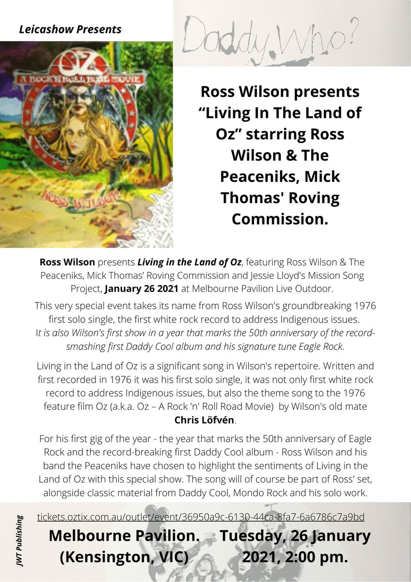 """#RossWilson presents """"Living In The Land of Oz"""" starring Ross Wilson & The Peaceniks, Mick Thomas Roving Commission with Jessie Lloyd's Mission Songs Project #DaddyCool #EagleRock50th #CanberraAquariusFestival #AquariusFestival1971 album released July 1971"""