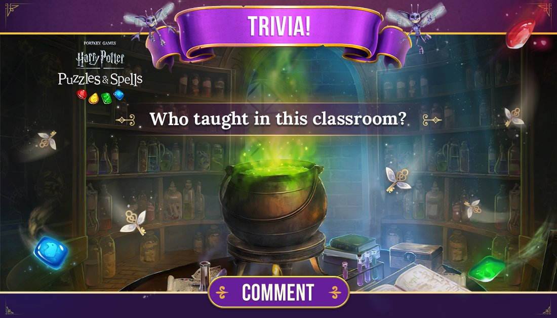 There are multiple correct answers to this trivia question, but who have you seen here in the game? Tell us in the comments!  Play NOW to see for yourself ➡️   #HarryPotter #PuzzlesAndSpells #Match3 #Potions