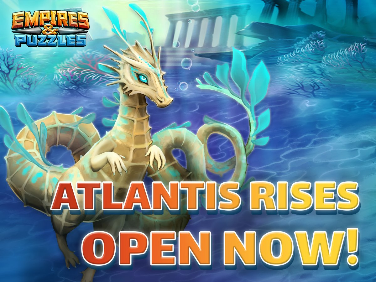 This month's @@EmpiresPuzzles Atlantis Event with Atlantis Rises started!  🔱 🌊    Play now: