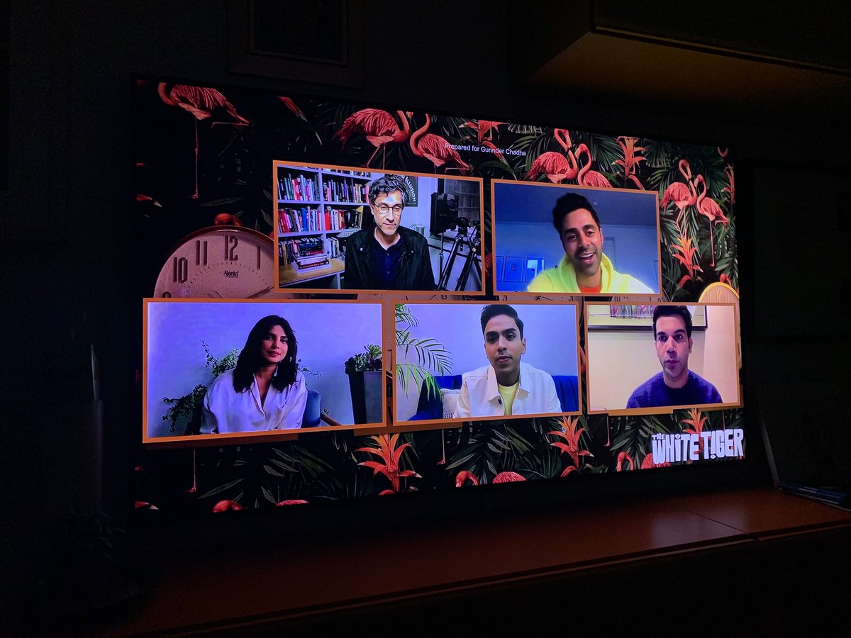 Just had the pleasure to see a special @netflix preview of @whitetigermovie from the award winning book by @Arvindadiga really well told Indian film for a global audience. Bravo!  @RaminRb @priyankachopra @adarshgourav @RajkummarRao great moderating by @Hasan minhaj 👏🏽👏🏽👏🏽💕