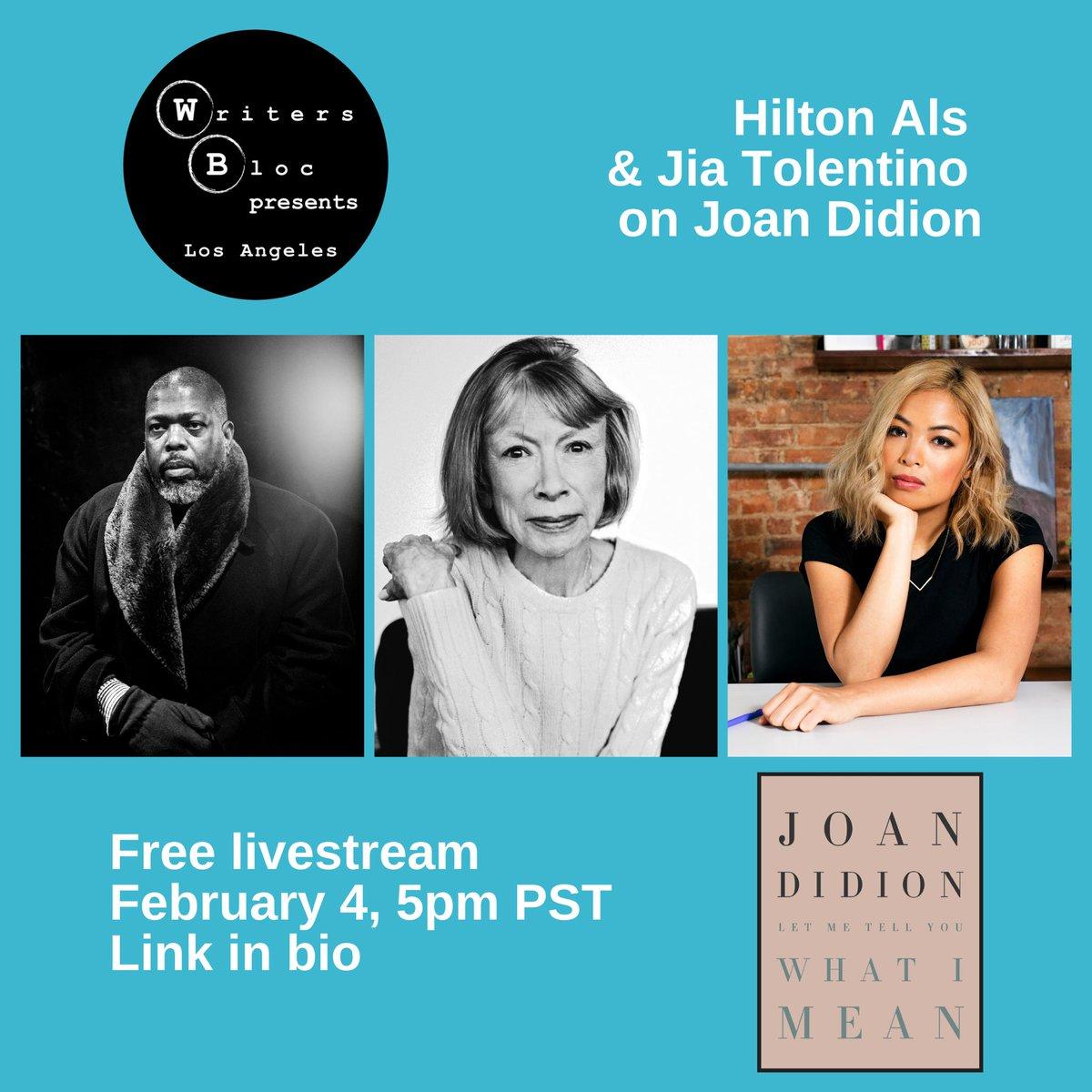 Just announced! #HiltonAls & @jiatolentino on #JoanDidion. Free livestream on Feb. 4. Books sold by @skylightbooks.