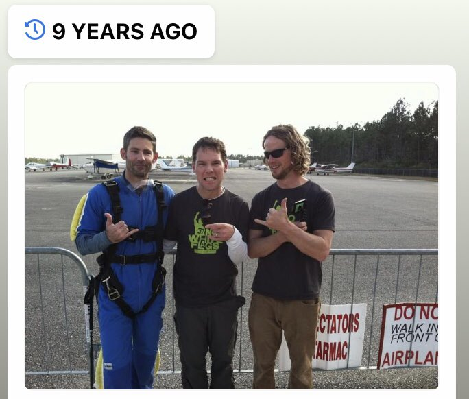 In non-political news, my phone reminded me that 9 yrs ago today @SteveGleason @wprieur504 @vinnievarisco, a few others & I jumped out of a perfectly good airplane. The Team Gleason Sky Squad. #NoWhiteFlags #GivenToFly