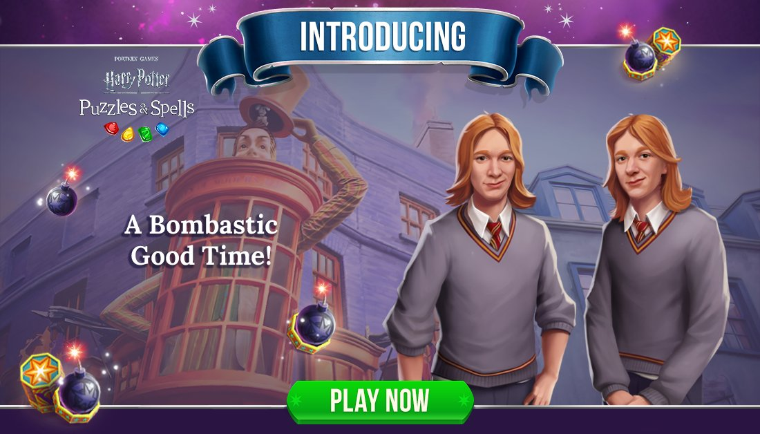 "Fred and George would ask, ""Where's the fun without a bit of risk""? Participate in #ABombasticGoodTime with the Weasley twins by triggering Bombastic Bombs inside main progression puzzles.  Play A Bombastic Good Time NOW ➡️   #HarryPotterPuzzlesAndSpells"