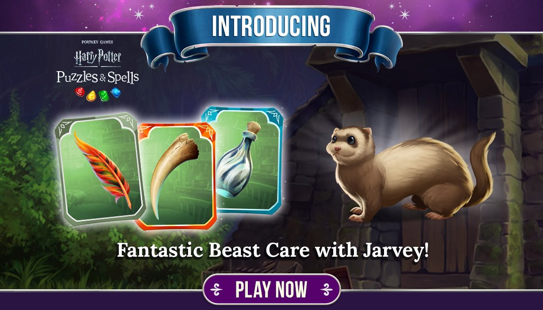 Fantastic Beast Care with Jarvey creature collection starts today! Collect cards by opening normal card packs and you just may unlock this ferret-like creature!  Open card packs NOW ➡️   #HarryPotter #PuzzlesAndSpells #FantasticBeastCare #Jarvey