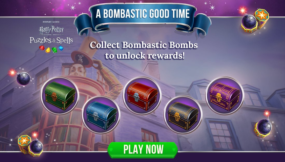 Collect Bombastic Bombs during #ABombasticGoodTime to open as many chests as you can while the event is active!  Collect Bombastic Bombs NOW ➡️   #HarryPotterPuzzlesAndSpells #BombasticBombs