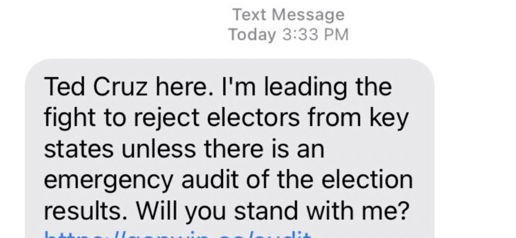"""Oh - you're accusing me of lying?  Isn't this you? Your campaign sent out this fundraising message as people were sieging the Capitol. You claimed to be """"leading the fight to reject electors.""""  Clashes started around 1:20pm. This message was sent after the Capitol was breached."""