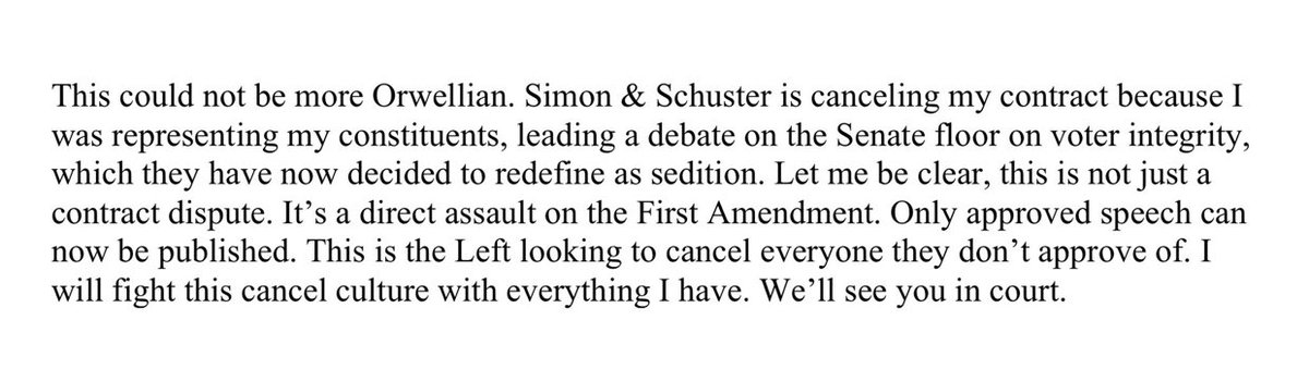 NEW: Republican Sen. Josh Hawley issues a  response to Simon & Schuster's decision to cancel plans for his book.