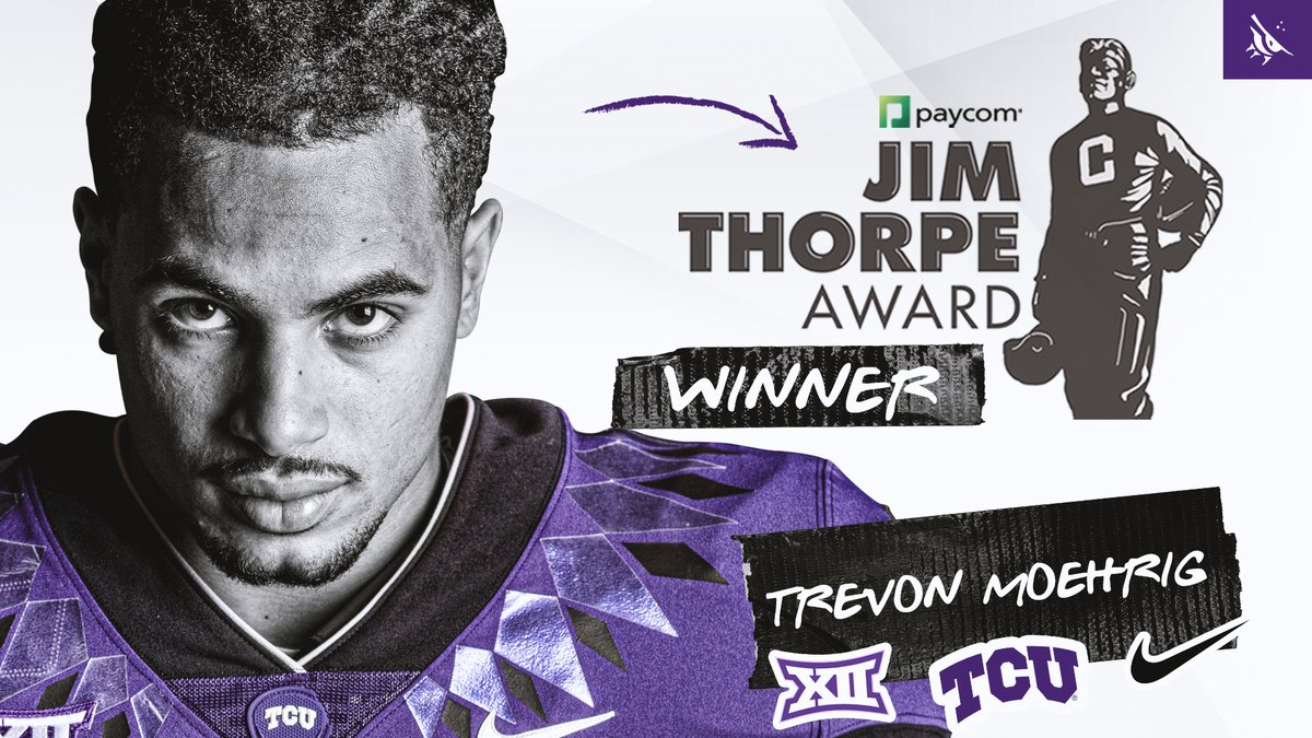 Best In The Nation!  Congratulations to @TheReal_Tre7 on winning the @jimthorpeaward.😈🐸🏆 #GoFrogs