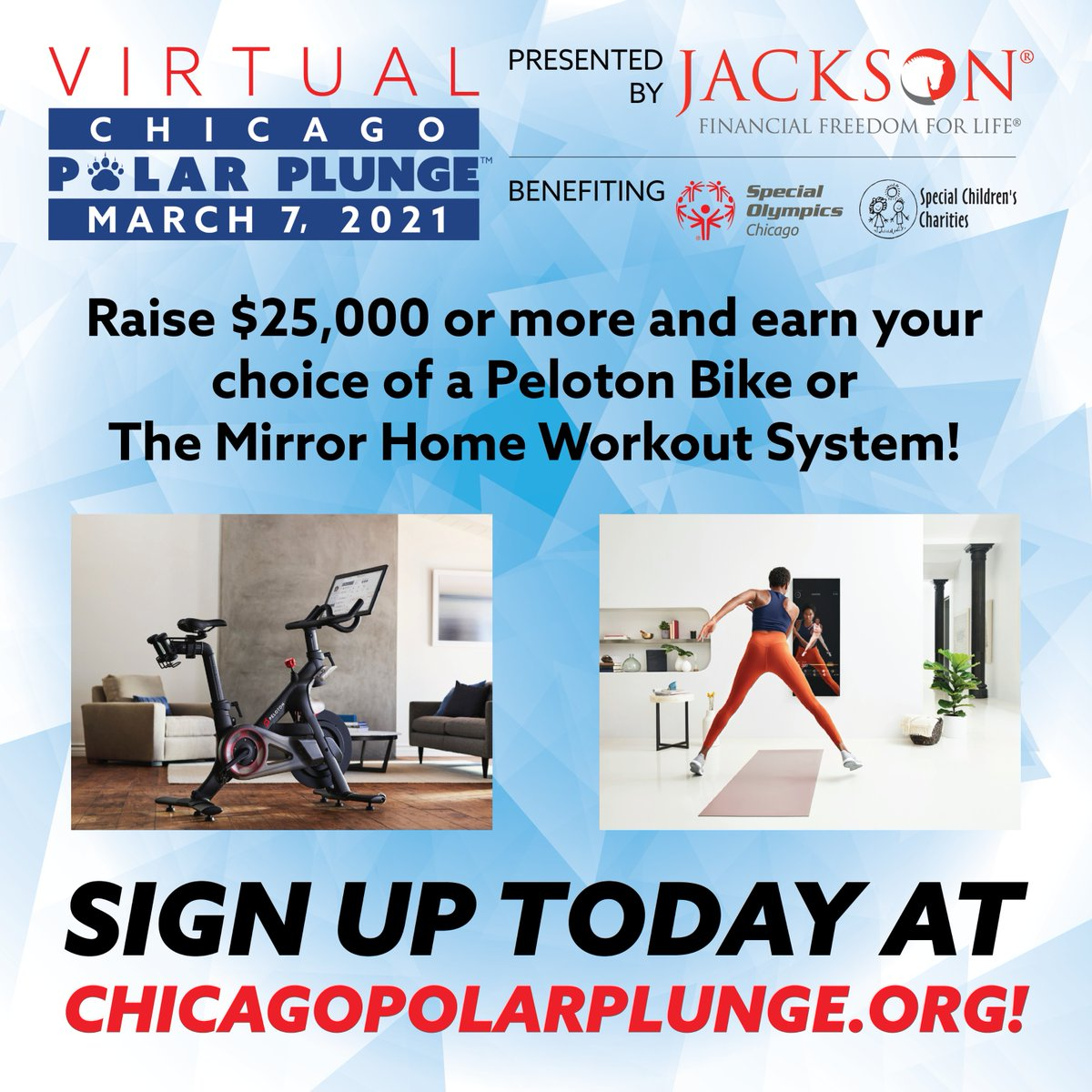 BIG incentive news: Raise $25,000 or more and earn your choice of a Peloton Bike or The Mirror Home Workout System! Register for the Virtual Chicago Polar Plunge presented by Jackson today and get started! https://t.co/JIo84MejNX https://t.co/UEx3TeXrDR