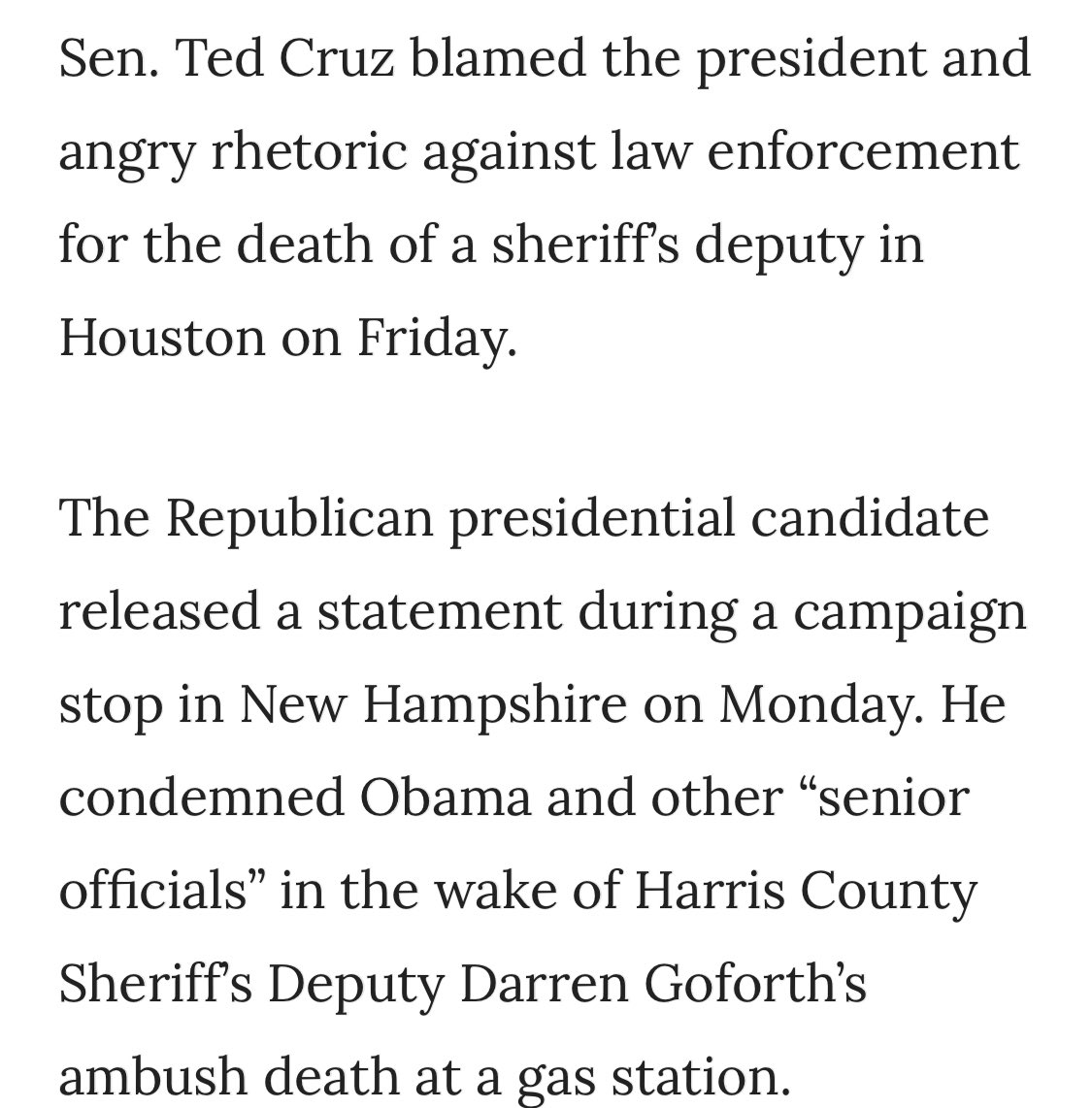 Remember when Ted Cruz blamed Obama's rhetoric when a Black man killed a cop?  Does the fact that Republicans encouraged the Great White Riot mean they are responsible for an officer's death and why do you want #TedCruzKilledaCop to trend?