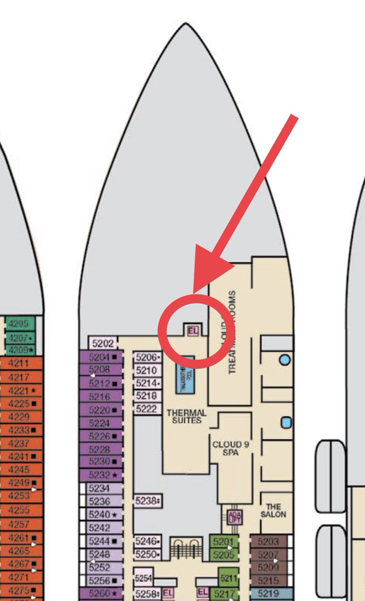 Help me out #cruisetwitter: where does this elevator go on the @CarnivalCruise Mardi Gras?  The design of the #cruise ship has more spa rooms up on deck 17; do you think this is a direct elevator to that deck? Deck plan doesn't have an end point, so curious! #CarnivalMardiGras
